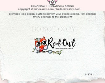 1131-1  red owl logo, business card, banner, owl design, owl logo design, watermark, boutique logo, child business, kids party, photography