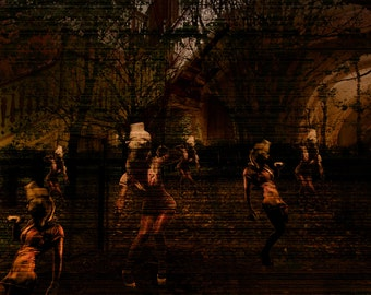 Horror Print - Dark Faces, Ghost, Nurses, Dead Nurse, A3, Horror Scene,Dark Print, Digital Art,Horror Art,Dark Art, Scary, Madness, Haunted