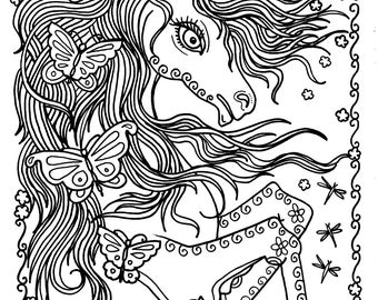 unicorn and butterflies instant download fantasy coloring pages adult coloring books - Unicorn Coloring Page For Adults