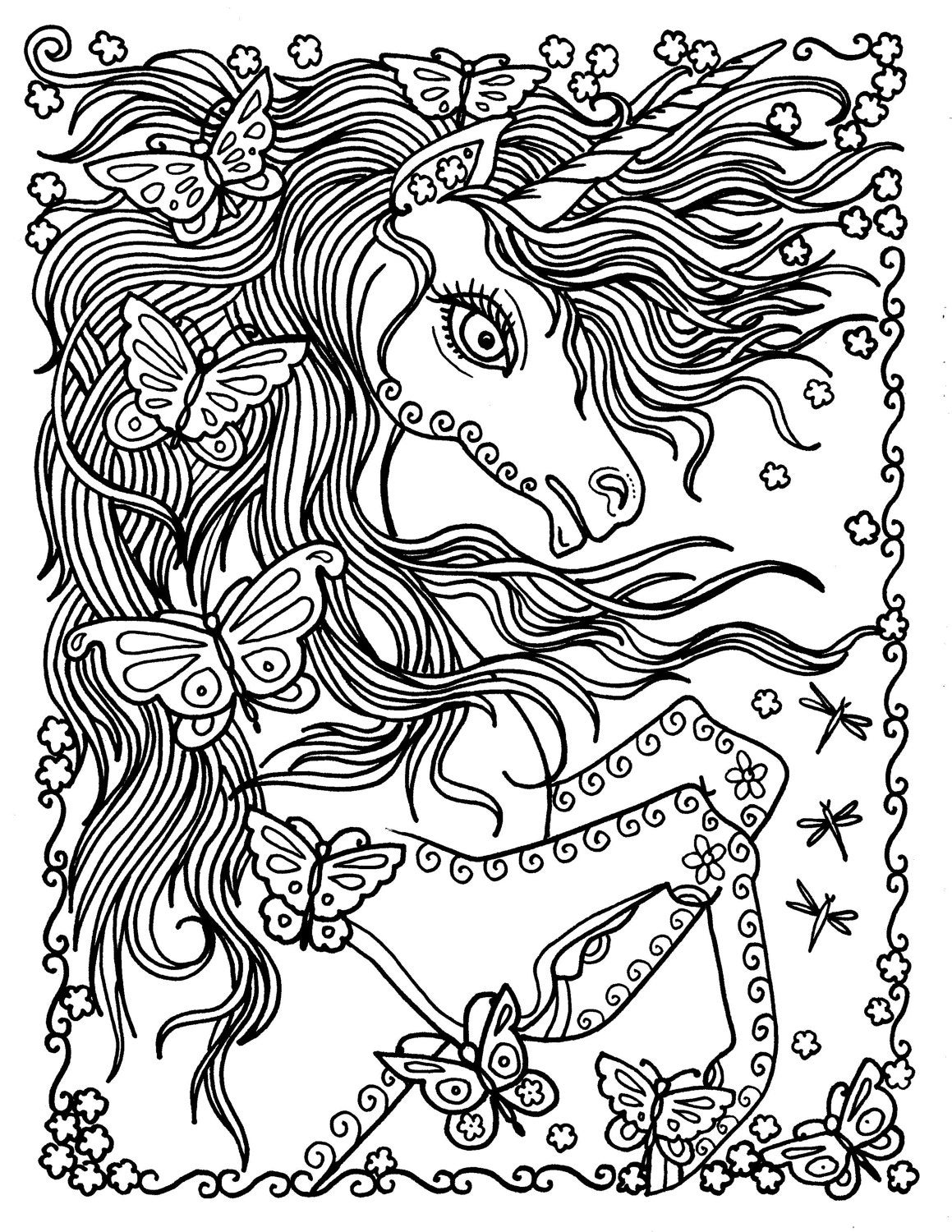 unicorn and butterflies instant download fantasy coloring