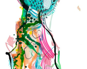 "Original Abstract Fashion Watercolor Figure Painting Art Colorful Dress Illustration, 9"" x 12"" - A22"