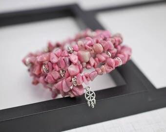 Pink Wrap Bracelet, Memory Wire Bracelet, Beaded Bracelet, Pink Stone Bracelet, Wrap Bracelet, Beaded Wrap Bracelet, Pink Bracelet, For Her
