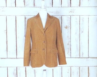 Vintage tan/light brown corduroy blazer jacket/womens brown chord fitted blazer/Lands End/10