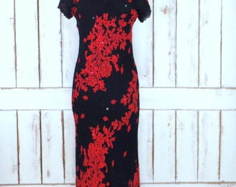 90s vintage red/black beaded floral fitted maxi dress/1990s grunge long floral short lace sleeve dress/medium