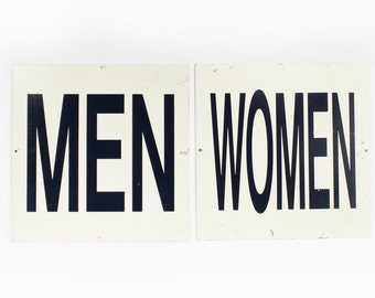 Vintage Bathroom Signs Men and Women Metal Sign