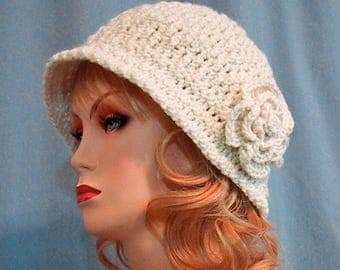 Ivory Cloche Hat with Flower - Hand Crocheted - Soft Acrylic Yarn - Handmade - Size Medium - Ready to Ship - Nice Gift - Great Chemo Hat