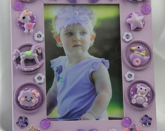 Children's Purple Button Picture Frame Holiday, Birthday, All Occasion Gift