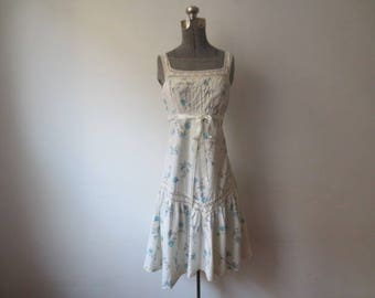 Vintage '70s JCPenney Fashions Crocheted & Pintuck Detailed Boho, Peasant Tank Dress, Small, 34 Inch Bust