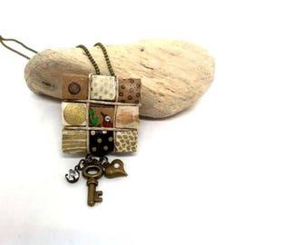Key to my heart. Eco chic paper quilt bird rhinestone necklace jewelry