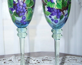 Wine glasses purple grapes set of two