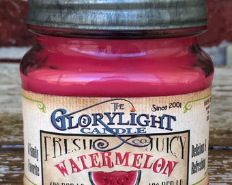 WATERMELON Mason Jar Soy Candle, Hand Poured, Gift, Home Decor, Made in the USA