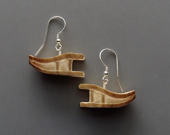 Dog Sled Earrings – Hand Carved Caribou Antler