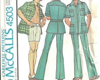 70's Mens Leisure Suit Pattern Size 34 McCalls 4503 Shirt Jacket Pants, Shorts