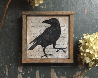 Crow Picture, Black Crow Silhouette Print, Framed Folk Art Style Crow Silhouette, Raven Silhouette Art, Bird Silhouette Art Prints