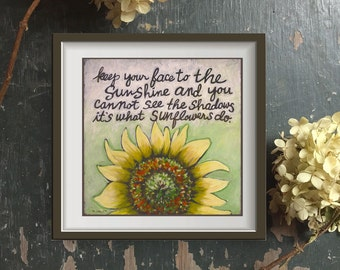 Sunflower Quote, Helen Keller Inspirational Quote, Floral Art, Square Print to Frame, Yellow Flower Print, Typography, Quotes