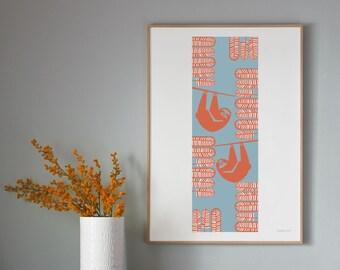 Summer Sloth, Tropical, Jungle Hand Pulled Screen Print, Wall Art