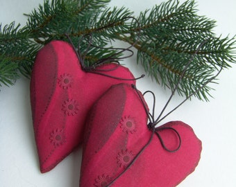 Hanging Hearts - Set of Two -  Red Hearts - Home Decor