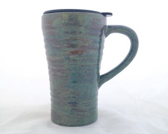 Ceramic Pottery Travel Mug with Lid  - 18 ounces - Rustic Green Brown