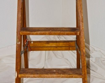 Vintage Wood Ladder. Wooden Step Ladder Country Shabby Cottage. Folding Step Ladder Rustic Farmhouse Decor. Collapsible Wood Ladder