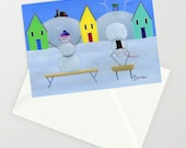 Hilly Handstand - Folk Art Winter Christmas Card w/ Snowman impressing his snow wife performing gymnastics, windmill & farm in background