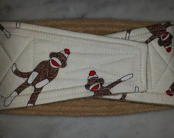 Belly Band Waist 12.00 x Width 4.00 inches Male Dog Belly Band Wrap Diaper Belt by SewDog 3 Layers Quilted Padded Wrap #088 SOCK MONKEY