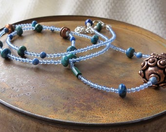 blue necklace. SKY SONG. blue agate necklace. natural stone necklace. lapis necklace. azurite necklace. malachite necklace. copper necklace.