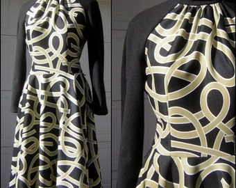 Loopy Noodle Dress Vintage 70s Black & Tan Crazy PASTA Print Alfred Werber Size Medium