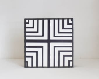boho nursery art, nursery decor, geometric art for nursery- 5x5 art block- geometric nursery- kid room decor-black white art- redtilestudio
