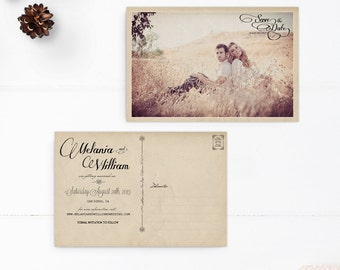 "Save the Date / Save the Date Cards / Save the Date Postcard / Photo Save the Date / Vintage Save the Date Card - the ""Melania"""
