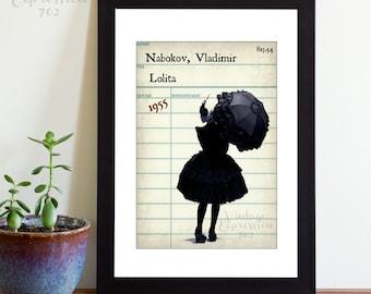 Vladimir Nabokov, Lolita, Vintage Library Card Art, Book Art, Silhouette Print