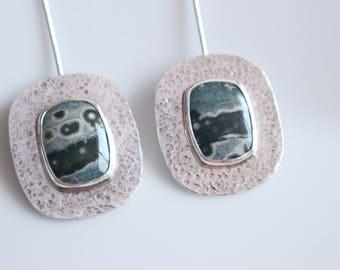 Ocean Jasper Earrings / Long Earrings / Green Earrings / Extra Long Earrings / Green Jewelry / Dangle Earrings / Jasper Earrings