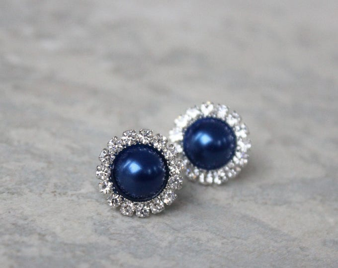 Navy Blue Bridesmaid Jewelry, Navy Blue Earrings, Bridesmaid Jewelry Gift, Bridesmaid Earring Gift, Navy Blue Pearl Earrings, Navy Jewelry