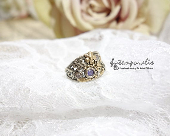 Bicolore bronze and purple cubic zirconium ring, US size 6, OOAK, SABA30
