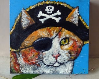 Pirate Ginger Cat Original Art Acrylic Painting on Canvas OOAK Steampunk