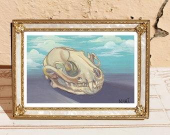 Raccoon Skull Painting