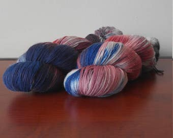 Hand Dyed Fingering Weight Superwash Merino Nylon Sock Yarn- Bursting Star 462 yards