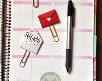 Tiny Love Notes Envelopes Paper Clips Bookmarks Planner Clips Set of 3 Red and White