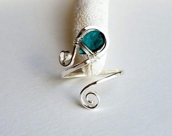 Adjustable Gemstone Ring, Paisley Gemstone Ring, Wire Birthstone Ring, Wire Wrapped Paisley Ring, STERLING SILVER:  Choose Your Gemstone
