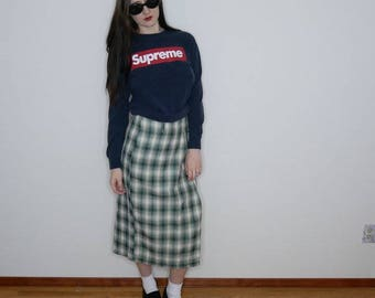 90s gradient green plaid side slit skirt with added safety pin size M