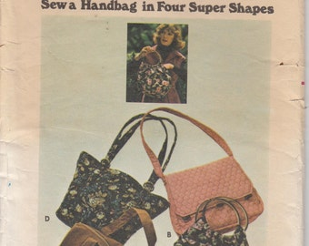 Vintage Handbag Pattern 4 Styles Ring Handles Complete Butterick 4520