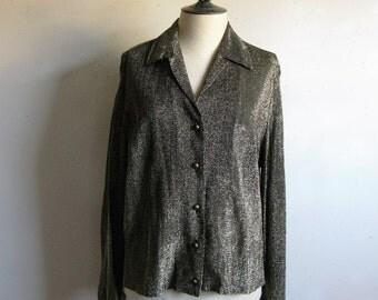 80s Gold Lurex Shirt Vintage 1980s Metallic Blouse Black Gold Evening Holiday Top 44