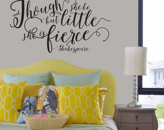 Shakespeare Nursery Wall Sticker Though She be but Little She is Fierce - Gold Nursery Wall Quote Wall Decals - Shakespeare Quotes - WB233