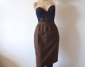 1980s Ungaro Pencil Skirt - brown wool short straight skirt - designer vintage
