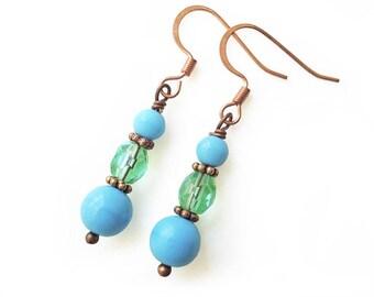 Beaded earrings, dangle drop earrings, turquoise and copper