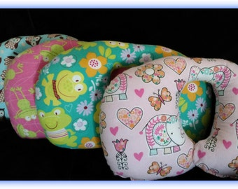 Travel Pillow - Car Seat Neck Support - Infant to Adult Sizes - Elephants and Owls
