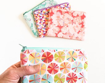 Zipper Coin Purse, Small Zipper Pouch, Teens, Kids, Womens Gift, Coin Pouch, Coin Wallet, Gift Card Holder, Floral, Geometic, Coral and Aqua