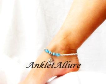 Beach Anklet Sand Dollar Ankle Bracelet Cruise Vacation Body Jewelry Blue Crystal Body Jewelry Beach Wedding Garter Ceremony