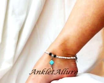 Turquoise Anklet Southwestern Ankle Bracelet Heart Body Jewelry Cruise Vacation Beach Resort Jewelry