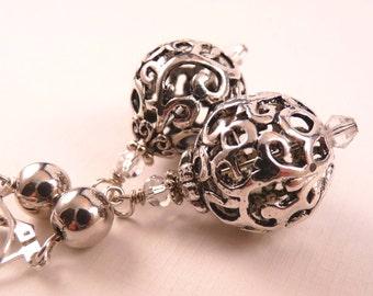 Silver Earrings Crystal Earrings Metal Earrings Beaded Earrings Beaded Jewelry  Silver Jewelry Crystal Jewelry Metal Jewelry Filigre Jewelry