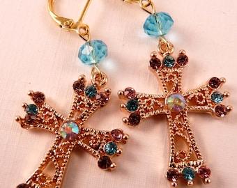 Gold Earrings Cross Earrings Gold Jewelry Beaded Earrings Beaded Jewelry Metal Earrings Cross Jewelry Crystal Earrings Crystal Jewelry